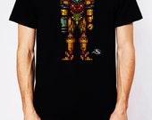 Samus Aran, the Metroid Slayer Men's T-shirt  Super Nintendo Retro Video Game Art  Super Metroid Super Smash Bros.