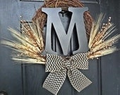 Summer and Fall Wheat Wreath With Black 12 inch Monogram and Chevron Burlap