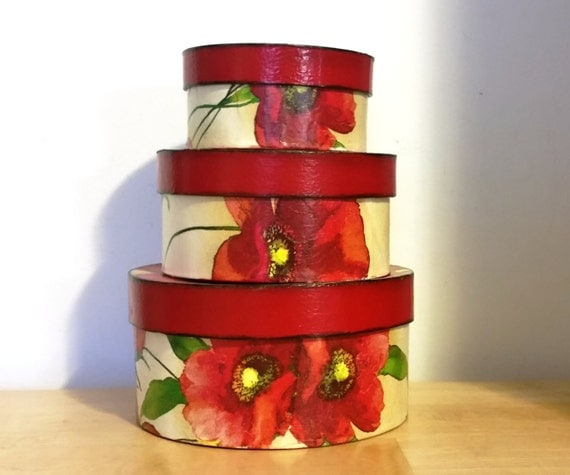 Round Decorative Boxes: Handmade Decoupage Paper Mache Round Decorative Nesting Boxes