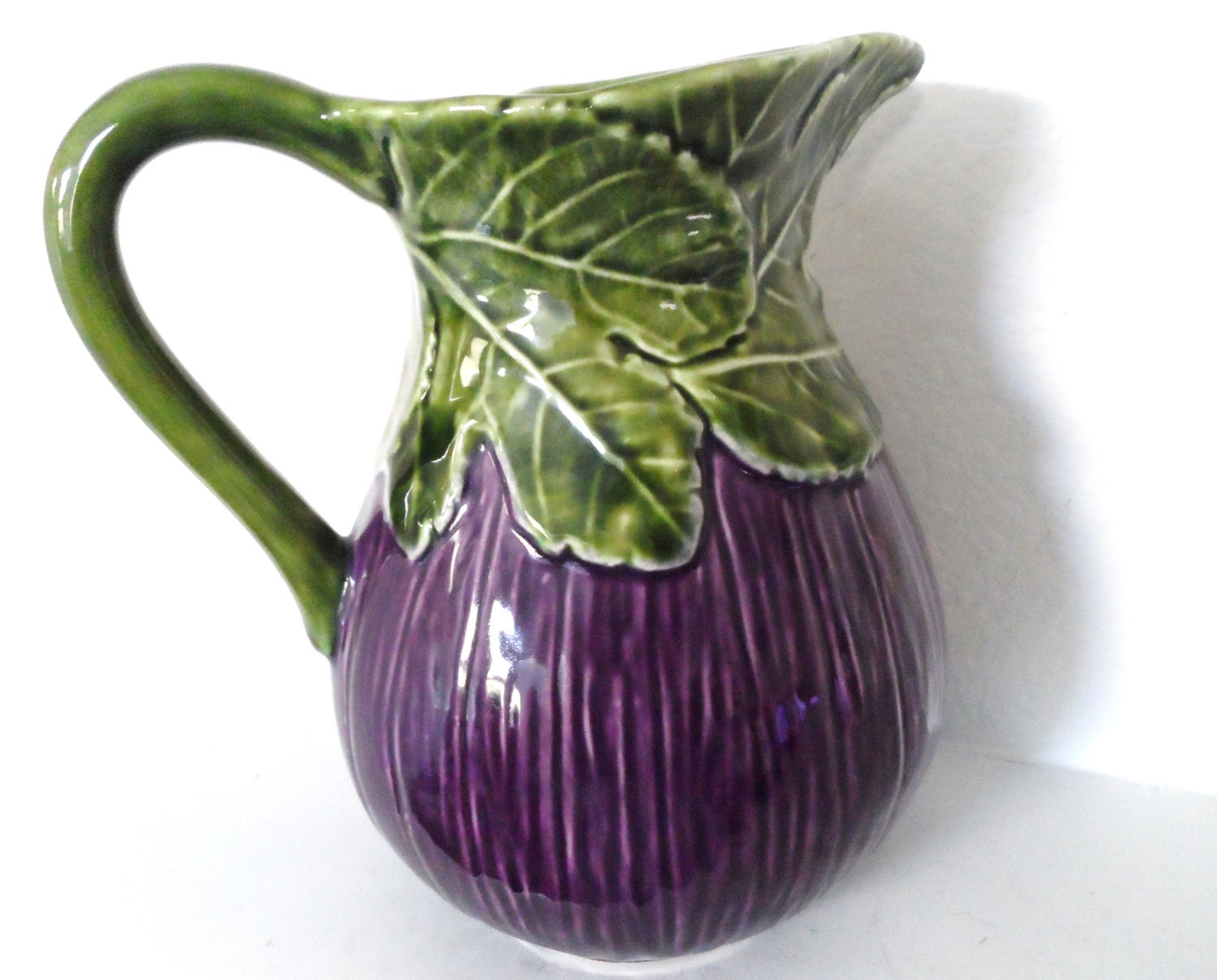Turquoise Arm Chair Purple Leafy Green Eggplant Large Water Majolica Pitcher vase Made in ...