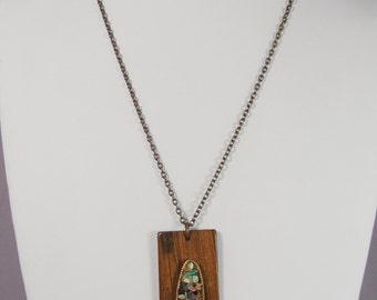 "Vintage 1970's Handmade Pendant Necklace Wood Semiprecious Stone Collage 24"""