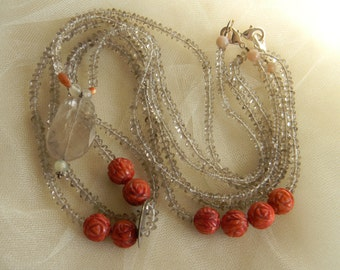 Smoky quartz pendant & beads w carved coral beads layering necklace set , beaded jewelry , smoky quartz , carved coral/ smoky quartz pendant