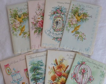 9 Vintage Greetings Cards Stationary Cards--Happy Birthday--Get Well Soon--Wedding--Anniversary-Made in the USA--Faux Ruffle Edge Cards
