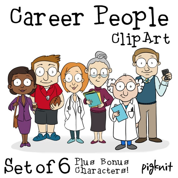 Cartoon Characters Jobs : Career people clip art cartoon character by pigknit
