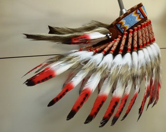 K41 For Children: Indian three colors red Feather Headdress
