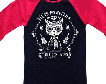 CATS' DAY of the DEAD Unisex Baseball Tee Cat Tee Shirt Black with Red Sleeves