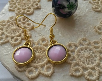 Classic earrings with a light pink cabochon charm, metal charm, pink earrings