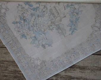 vintage hanky in beautiful light blues and grays