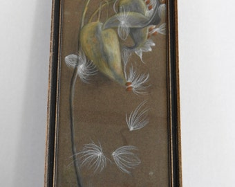 Vintage Beautiful Wood Framed  Zen- Wildlife-Nature- Plants Chalk Painting by Edens (Signed) 12 1/4 X 5 3/4 inches