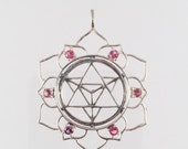 Sacred Geometry, Sterling Silver Merkaba in Lotus Pendant with 6 Pink Spinel (unheated) Gems