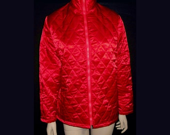 Red Satin Quilted Jacket - Fully Lined - Front Zipper - Size Medium 36 - 38