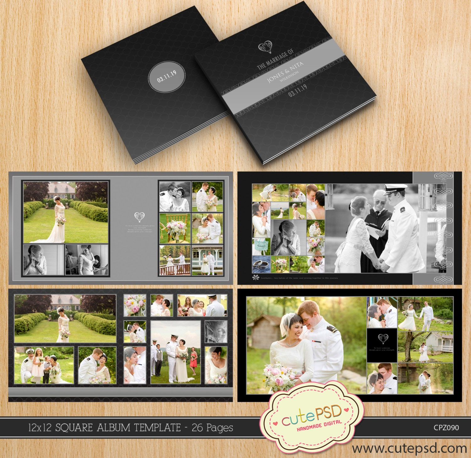 12x12 square wedding album template 26 pages modern dark cpz090 cute psd. Black Bedroom Furniture Sets. Home Design Ideas