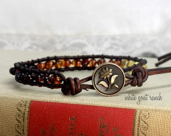 Ombre Baltic Amber Stacking Leather Bracelet with Flower Antiqued Brass Button