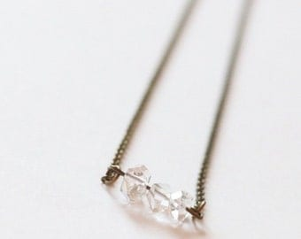 Herkimer Diamond Trio bar necklace, boho jewelry, modern jewelry, simple, chic, trendy jewelry, boho chic, gift idea for her, gemstones