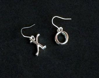 Hugs Kisses XO Silver Earrings, Drop Dangle Earrings E101