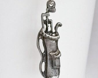 Silver Plated Golf Bag Golf Clubs Key Chain Bag Charm KC101
