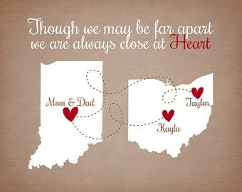 Though we May be Far Apart Quote - Custom Family Gift Personalized Maps, Hearts, Quote, Unique Gift for Family Members, Friends, Parents