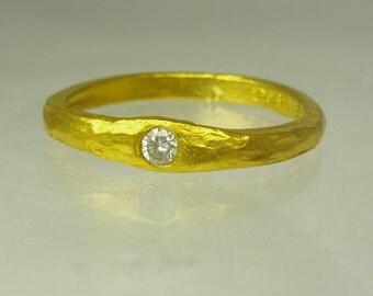 Pure Gold & diamond engagement ring,Handmade Engagement Ring.Daimond ring,999 24 karat  ring, Recycled gold, Wedding Band, Gold