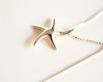 Solid Starfish Necklace Sterling Silver Sea Star Necklace Everyday Necklace, Surfer gift Diver gift Nautical Jewelry