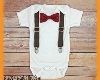 Infant Boy Clothes - Hot Chocolate Stand Picture - Burgundy Bow Tie Brown Suspenders - Baby Boy Clothes - Little Man Outfit - Baby Shower