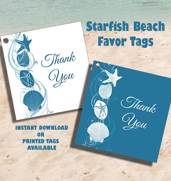 Wedding Favor Tags Beach : Instant Download Beach Wedding Thank You Favor Tags Wedding