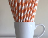 Orange Striped Paper Straws Party Supplies Party Decor Bar Cart Accessories Cake Pop Sticks Mason Jar Straws