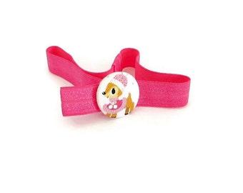 Bambi Elastic Headband/ Deer Headband/ Fuchsia Elastic Headband/ Baby Elastic Headband/ Girl Elastic Headband