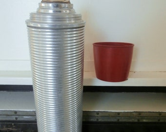 Vintage, Quart, Ribbed Metal Thermos, Glass Vacuum Bottle, Made in USA, With Cork and Plastic Cup/Lid