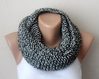 black white knit infinity scarf silvery black white circle scarf loop scarf multicolor winter fashion scarf woman scarf gift for her