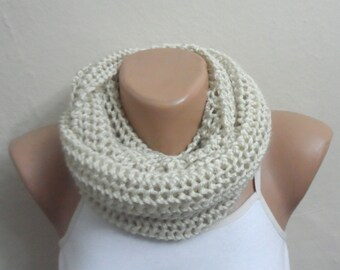 ivory knit infinity scarf circle scarf shawl winter scarf loop scarf knit scarf