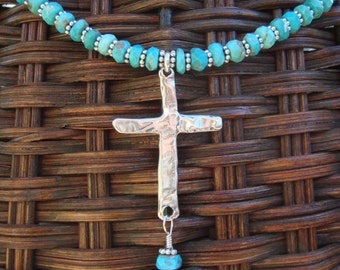Blue Turquoise Necklace, Natural Turquoise, Sterling Cross Pendant, Turquoise Necklace, Turquoise and Sterling Cross Necklace, OOAK