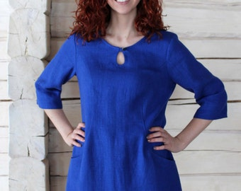 Linen 2/3 Length Sleeves Tunic Dress With Pockets