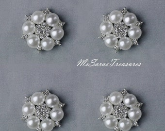 1 Large Rhinestone And Pearl Embellishment Button Metal Flatback Pearl Crystal Hair Comb Clip Brooch Bouquet Jewelry Supplies T43