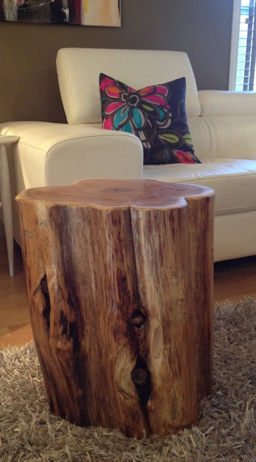 Wood stump side tables end tables coffee tablesrustic for Stump furniture making