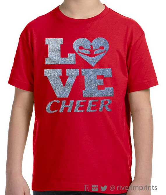 youth love cheer youth girls sparkly tee shirt
