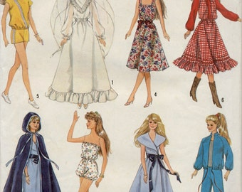 Barbie Clothes Pattern, 1987, Simplicity 8333, Wedding Gown, Long Cape