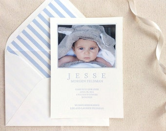 Letterpress Baby Birth Announcements with photos - 50 flat cards with envelopes - 1 ink color - custom designed, stripes, blue, newborn, DIY