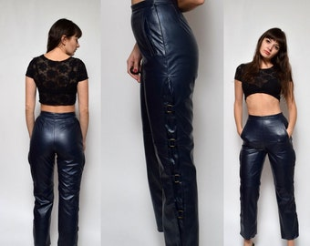 Vintage 90's High Waisted Navy Blue Faux Leather Pants
