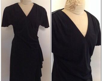 1970s Rhinestone Wrap Dress Vintage // medium, large 10 12 little black dress lbd cocktail