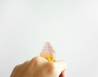 pink and orange translucent geometric resin ring - size 8.5