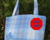 Scottish Harris Tweed A4 Tote Shopper Bag in pale blue check *Limited Edition*