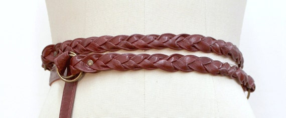 SALE - TURN AROUND - leather double plaited belt, for waist - red