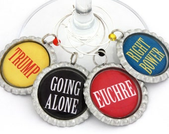 Euchre game wine charms card party favors drink markers.