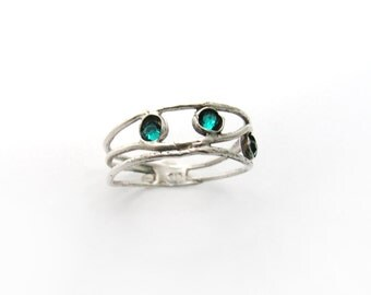 Silver blue ring. Sterling silver ring. blue silver ring. birthday gift for her, romantic gift ideas, Silver jewelry. (1574)