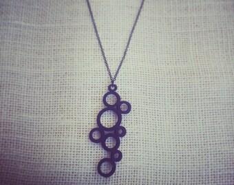 Black Wooden Bubble Necklace. Long black necklace