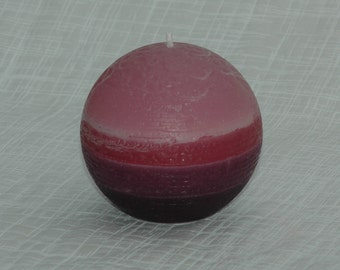 """Burgundy Candle - Burgundy to Purple Fade Pillar Candle - 3"""" Ball - Maroon Candle, Cranberry Candle, Pink Candle, Mauve Candle, Red Candle"""