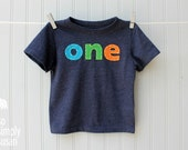 boy's birthday shirt, number shirt, boy's first birthday, one number shirt, 2nd birthday tee, heather navy short sleeve, hand appliqué