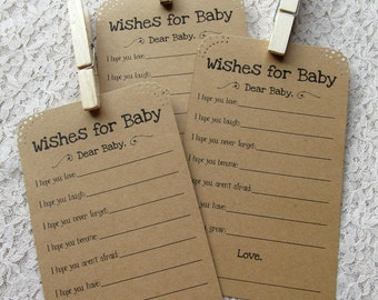 Set of 12 Baby Shower Wish Tags/ Advice Tags - Wishes for Baby Neutral Kraft Paper Vintage Rustic with Clothes Pin / Wishing Tree Tags