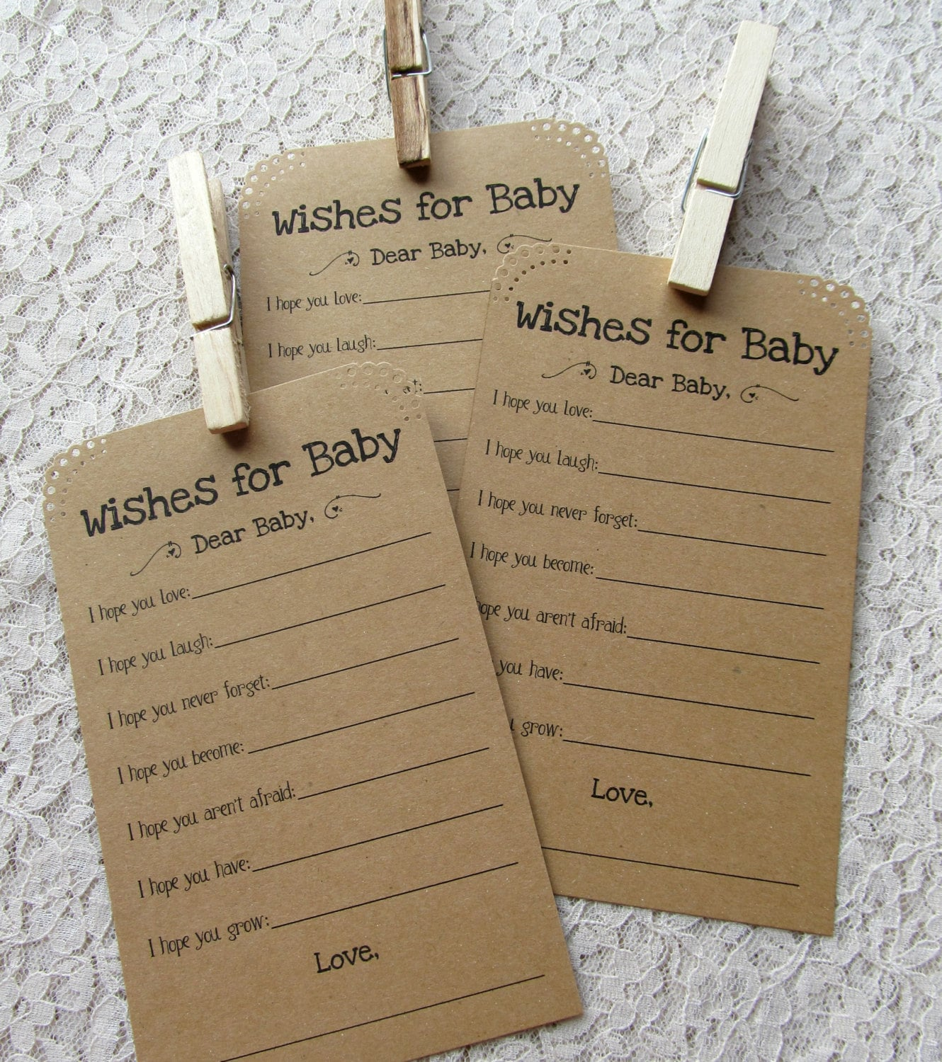 Baby Shower Cards Messages: Set Of 12 Baby Shower Wish Tags/ Advice Tags Wishes For Baby