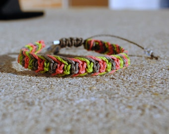 Summer Watermelon Fishbone Hemp Bracelet